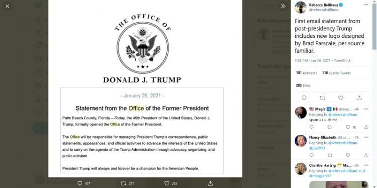 Gebrakan Baru, Trump Umumkan Pembentukan Kantor Mantan Presiden